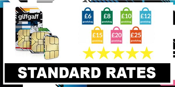 Giffgaff Call, Sms & Internet PAYG Standard Rates